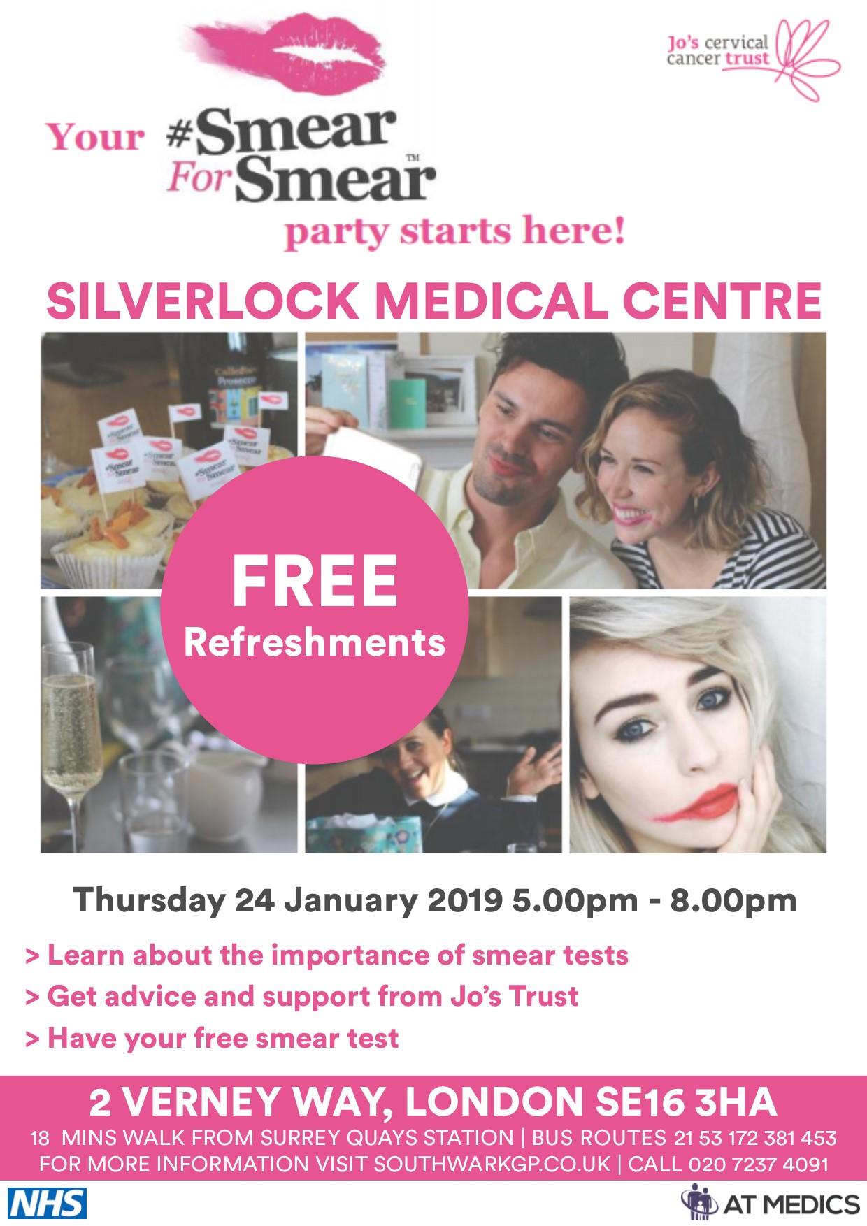 Silverlock Medical Centre Smear Awareness Event- Thursday 24 January